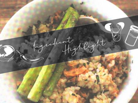 furikake rice bowl with salmon and asparagus