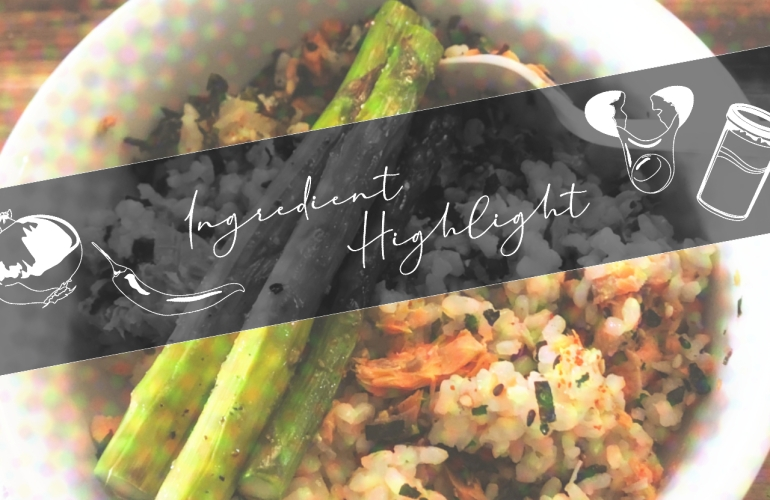 furikake rice bowl with salmon and asparagus